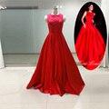 Real Photo High Quality Red Prom Dresses Long Satin Beading Sequined Evening Dresses 2017 Robe de Soiree Vestido de Festa PD14