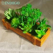INDIGO- Green Aloe Artificial Succulent Plant (6pcs +1 Wood Tray)/Set Bonsai Table Decoration Free Shipping
