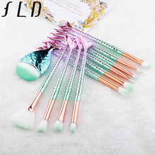 FLD 11Pcs Mermaid Makeup Brushes Set Eyebrow Eyeliner High Quality Premium Brush Cosmetic Tools Eyeshadow Blush Kit