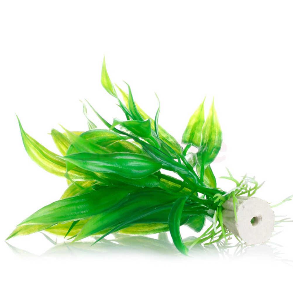 1 قطعة 15 سنتيمتر البلاستيك الأخضر ارتفاع لحوض السمك لوازم الديكور الجملة من صنع الإنسان محطة مياه العشب