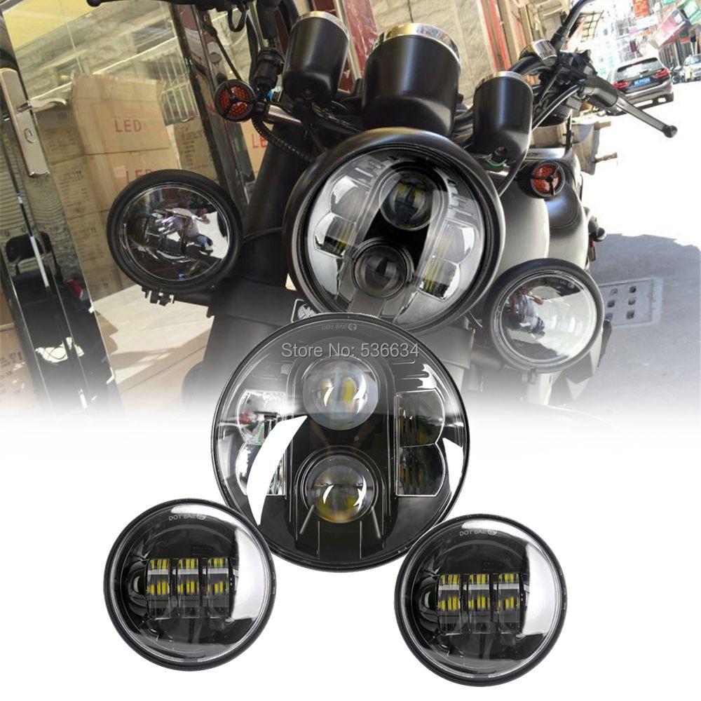 7 дюймовый 80 Вт светодио дный проектор фар высокого/низкая луч соответствия 4,5 дюйма светодио дный прохождения Противотуманные огни для Harley