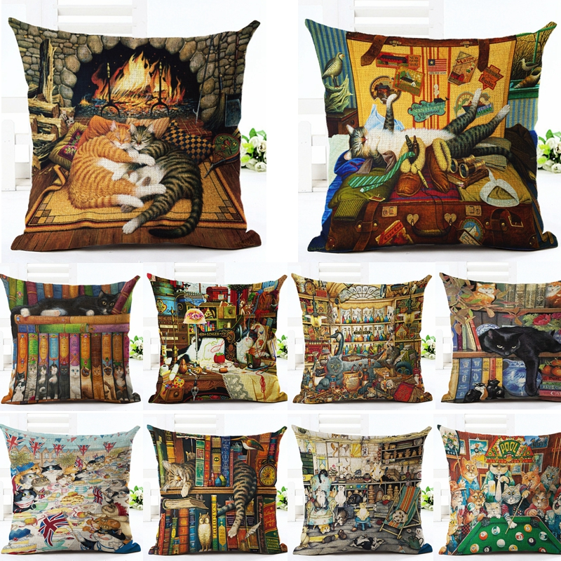 Cute Cat Printed Pattern Cotton Linen Decorative Pillow Case Pillowcase Christmas Chair Cushion Cover Home Decoration