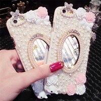 Novo 2017 Moda Menina Mulher Lady Estilo Espelho 3D Artesanal de Diamantes Telefone Caso capa para o iphone 4 4S 5 5S 6 6 S 6 Mais 7 7 Mais