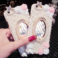 New 2017 Fashion Girl Woman Lady Style 3D Mirror Handmade Diamond Phone Cover Case For IPhone