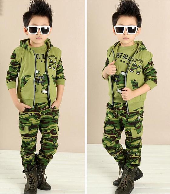 Primavera outono 2017 crianças das crianças do menino adolescente clothing define meninos grandes hoodies camuflagem roupas de treino para meninos 3 pcs