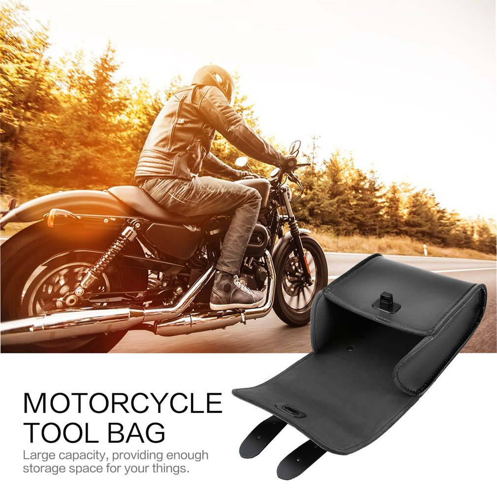 Universal PU Leather Front Tool Bag Luggage SaddleBag Motorcycle Bicycle Black