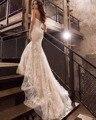 Dreagel Новый Дизайн Sexy Бретелек Кружева Русалка Свадебные Платья 2017 Тонкий Шнурок Аппликации Суд Поезд Невесты Платье Плюс Размер