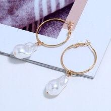 L&H Elegant Imitation Pearl Dangle Earrings Women Unique Irregular Drop Fashion Wedding Party Jewelry Trend