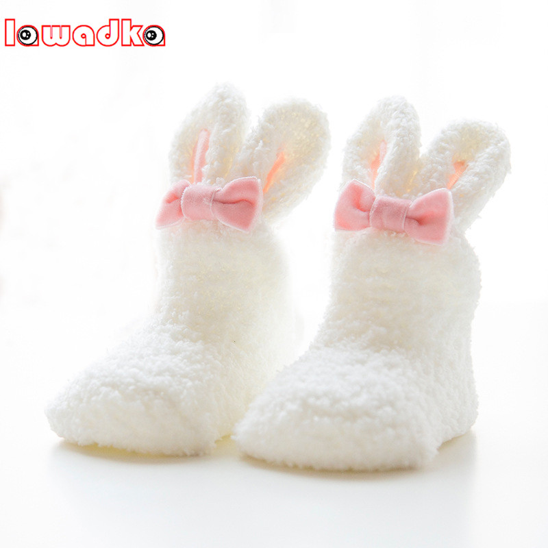 Lawadka Winter Coral Fleece Baby Girls Socks Newborn Soft Cute Rabbit Baby Socks S(0-11M)andM(12-24M)