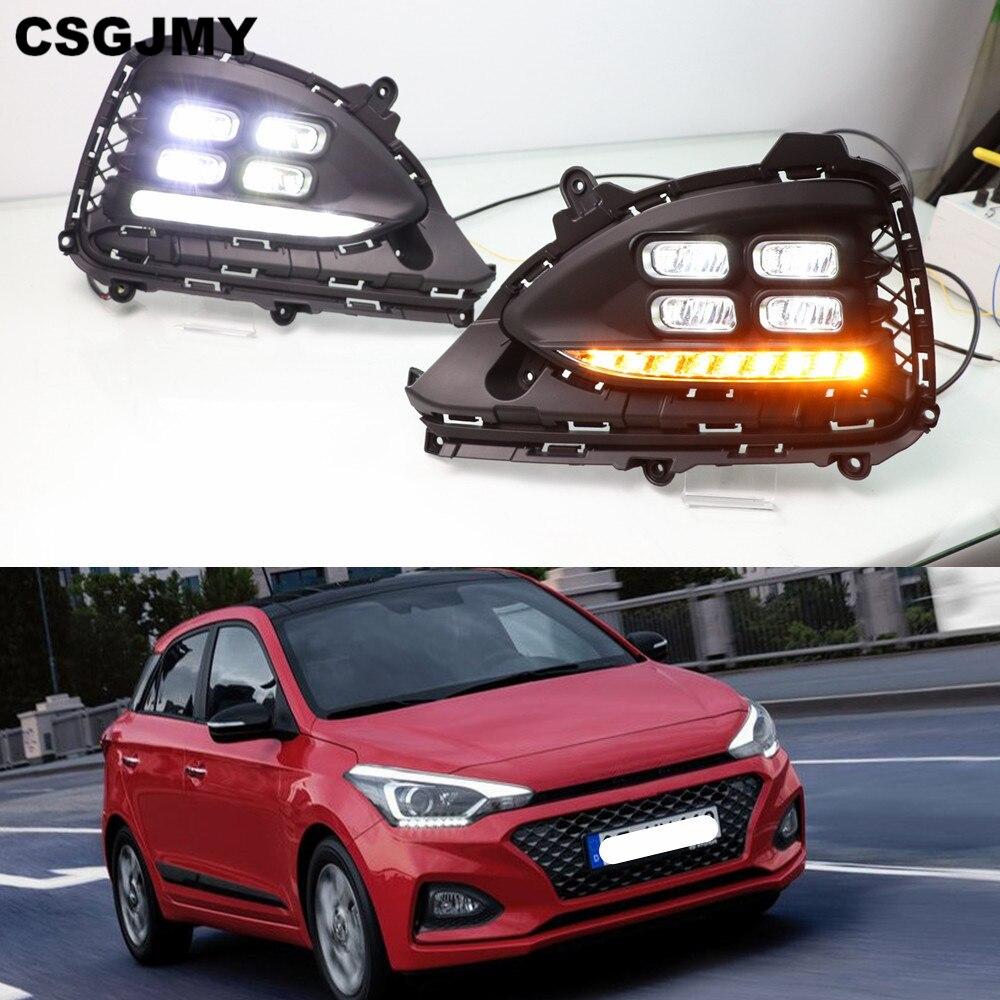 2PCS LED Daytime Running Light For Hyundai I20 2018 2019 Flowing Turn Signal Function Car DRL