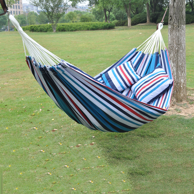 The New Cotton Canvas Hammock Adult Indoor Swing High Quality Handing Chair 260*160cm Family Hammock Camping Tourism + Cushion