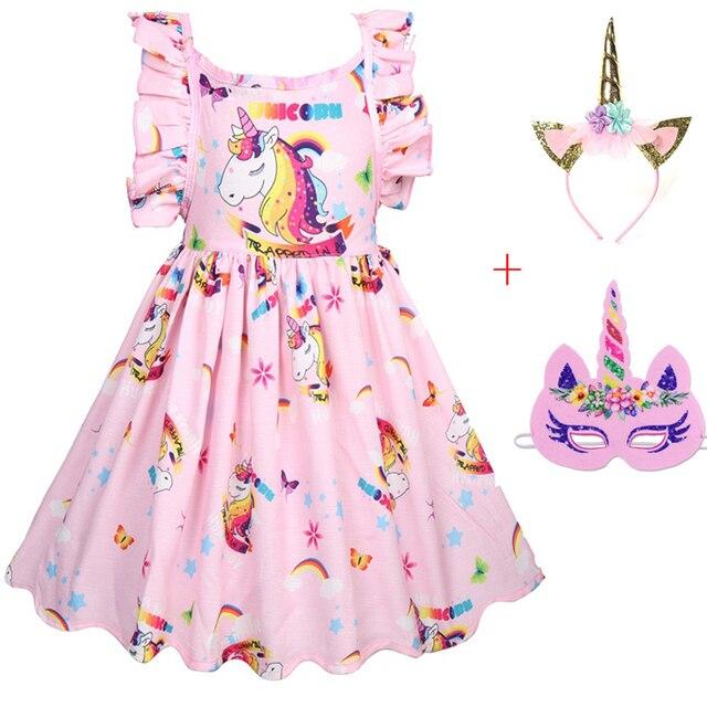 Meninas do bebê Vestir Traje Unicórnio para Crianças dos miúdos Vestidos de Festa Roupa dos miúdos Da Princesa vestido unicornio Rainhow Máscara cabeça