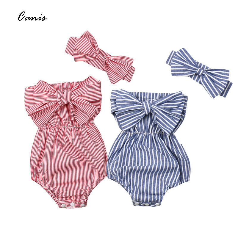 Pudcoco Newest Fashion Newborn Baby Girl Clothes Off Shoulder Bowknot Striped Bodysuit Jumpsuit Headband 2Pcs Outfits Set