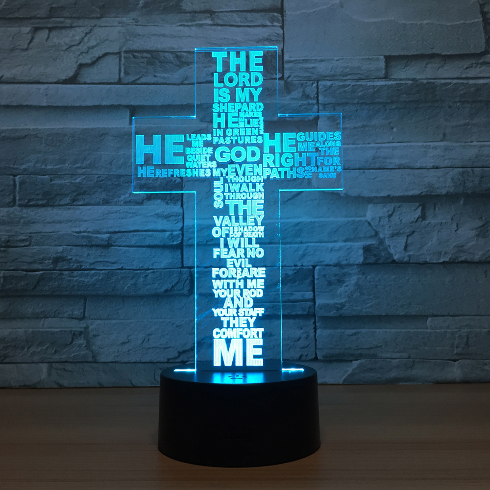 USB LED Night Light Creative Cross 3D Lamp 7 Colors Home Decor Lamp Table Desk Light Birthday Party Gift For Children Friends icoco usb rechargeable led magnetic foldable wooden book lamp night light desk lamp for christmas gift home decor s m l size