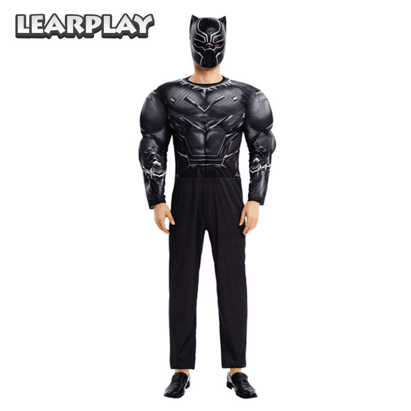 Black Panther T'Challa Jumpsuits&Mask Cosplay Costumes Halloween Adult super hero costume muscle body suit