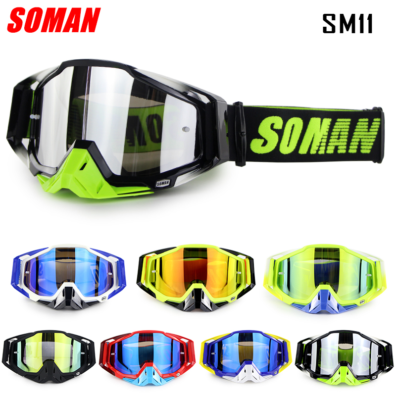 Soman Brand Motorcycle Racing Goggle Motocross Glasses with Removable Nose Protector Motor Bike Gafas Off Road Glasses SM11