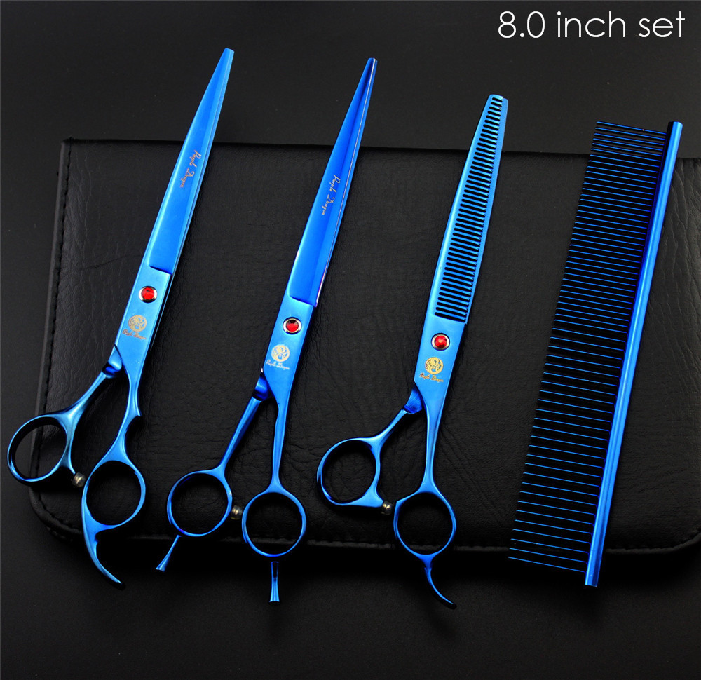 "Purple Dragon Professional Pet Grooming Scissors Set 7"" 8"" Straight+Thinning+Curved Scissors Cat Dog Shears Hair Cutting Tools 17"