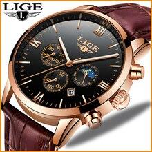 лучшая цена LIGE Mens Watches Top Brand Rose Gold Black Watch Leather Casual Quartz Watch Men Military Sport Waterproof Clock erkek saat+Box