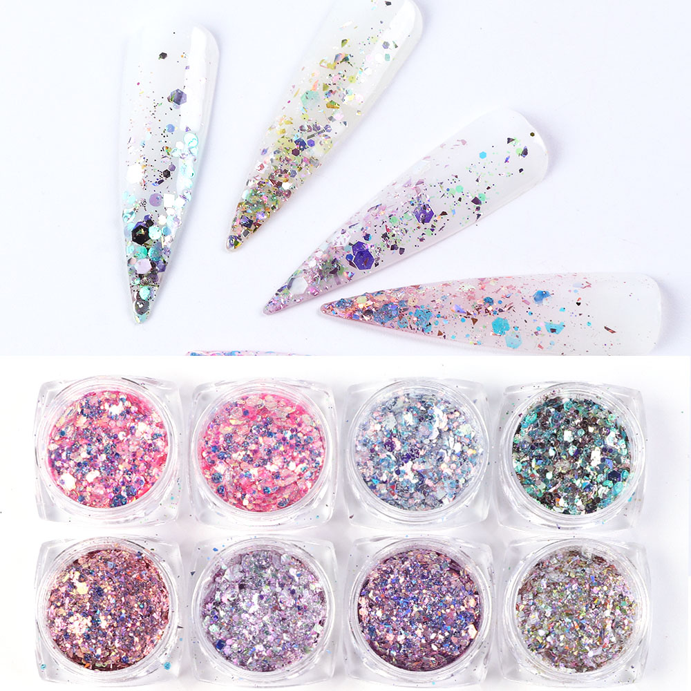 8 Box/Set Sparkly Mermaid Powder Nail Glitter Sequins Manicure 3D Hexagon Flakes Paillettes Holo Nail Art Decorations TR1506-08
