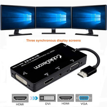 цена на HDMI Ada[ter to HDMI VGA DVI Converter 1920*1080 @60HZ Support 3 Ports Connecting Sync HDMI Adapter for Laptop HDTV Projector