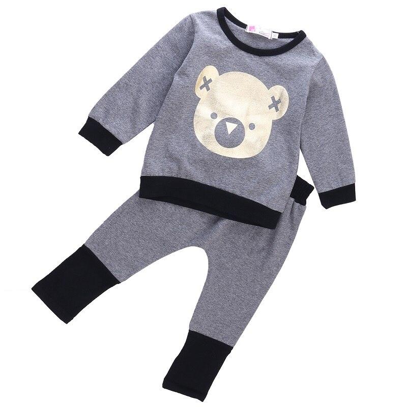 Autumn Newest Toddler Infant Baby Boy Girl Print Cartoon Sweat Shirt Pants Outfit Clothes 2pcs Casual Set Size 0-4