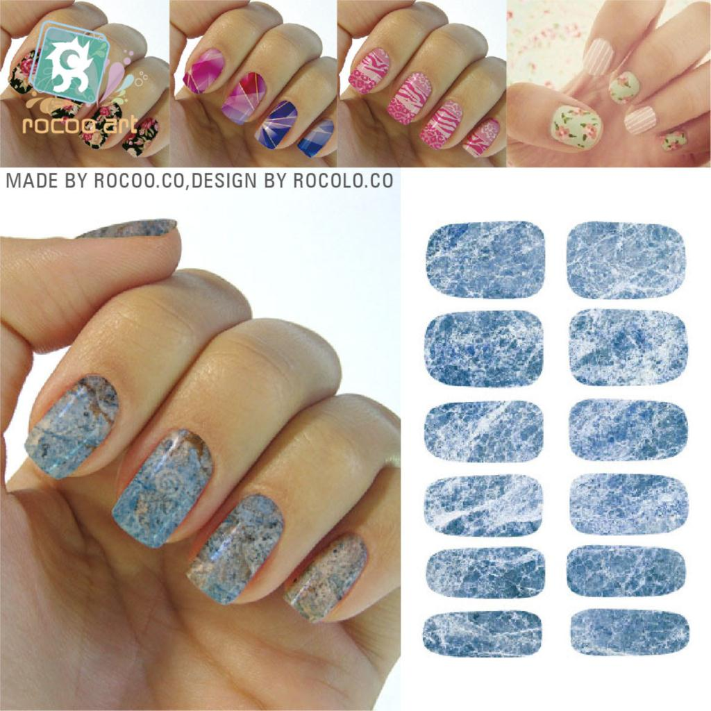 New Art Nail Sticker Water Transfer Colourful Graphic Marble Design ...