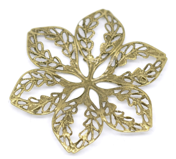 DoreenBeads Alloy Embellishments Findings Flower Antique Bronze Flower Hollow Pattern 4.3cm(1 6/8