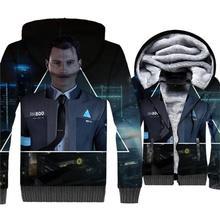 Detroit: Become Human 3D Pattern Jacket Male 2018 Autumn Winter Thick Sweatshirts For Men Streetwear Mens Hoodies
