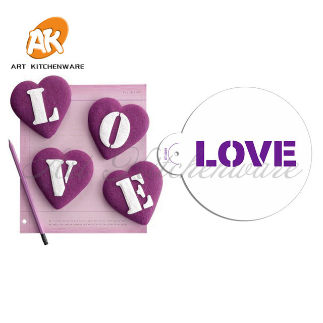 Letter LOVE Cake Top Stencils Fondant Decorating Stencil Plastic Eco   Friendly Mulds Cookie Stencils Wall