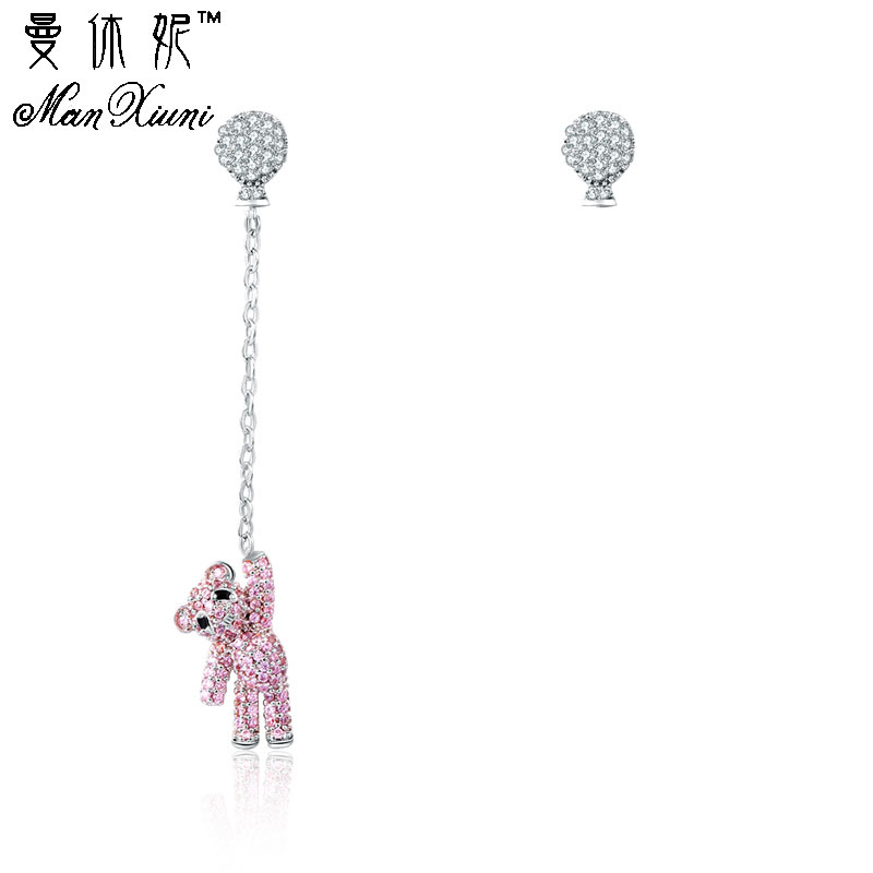 Crystal pendientes Earrings Balloon panda Bear asymmetrical Stud Pink Earrings cute bear long Stud earring brincos de festa