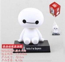 Wholesale 12cm Big Hero 6 Baymax Action Figure PVC Anime Brinquedos Baymax Figure Head Shaking Toys For Kids