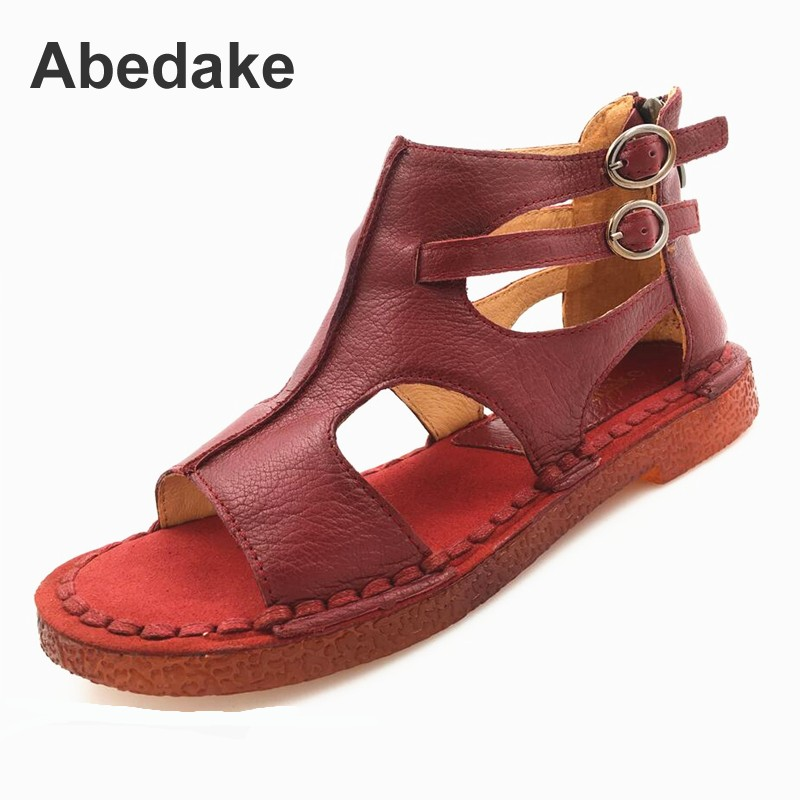 Abedake varumärke handgjorda äkta läder kvinnor sandaler bekväma plana blixtlås kvinnor sommar skor mather gladiator sandaler