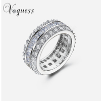 Brand Designer 9mm Width Wedding Rings White Gold With Pink Clear Princess Cut CZ AAA Zircon