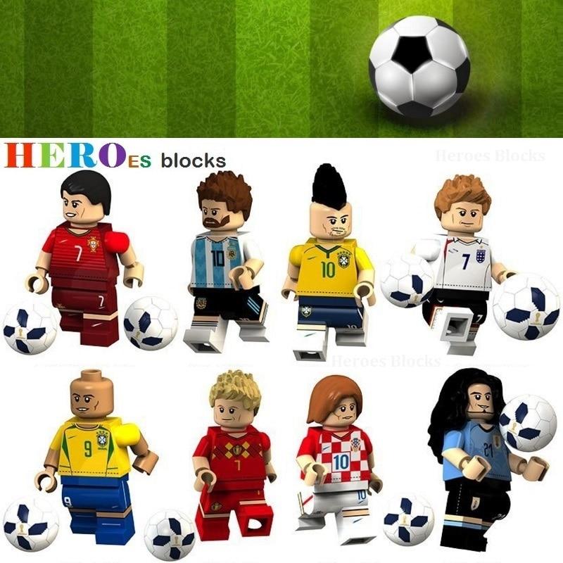 WorldCup Football Team Player Ronaldo Lionel Messi Neymar Beckham Building Blocks Figure Bricks Toy Kids Gift Compatible Legoed