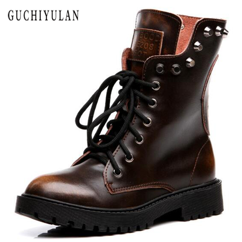 Fashion Motocycle booties Women Boots Female Womens Ankle Boots Square Heel Martin Boots Autumn High-top vintage women Shoes