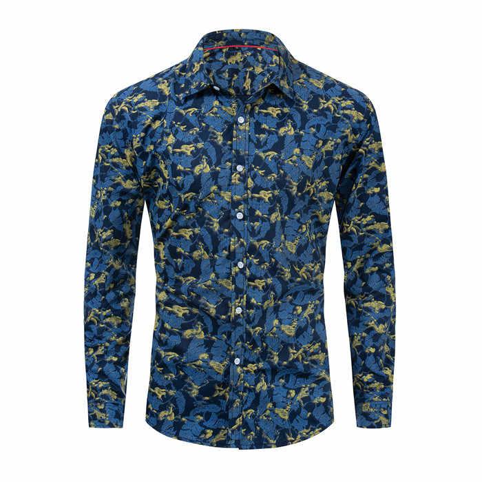 夏の秋の新ファッションフラワープリント長袖コットンシャツ男性カミーサ男性スリムシャツヴィンテージカジ男性シャツ、 FM183