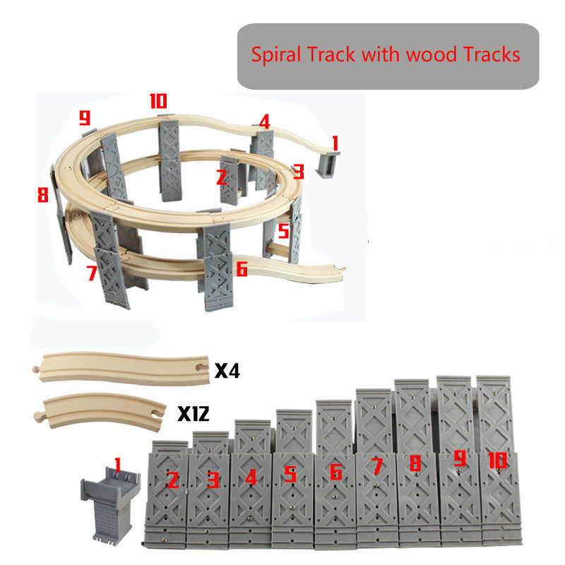 EDWONE --10PCS Plastic Spiral Tracks Train Track Railway Accessories Track Bridge Piers With Wooden Thomas Tracks
