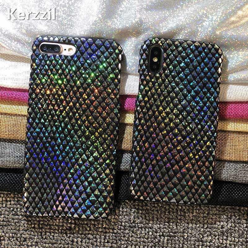 Kerzzil Glitter Laser Schubben Telefoon Case Voor iPhone 6 7 6 S Plus Shining Flash Poeder Cover iphone X 8 Plus 10 Gevallen Capa