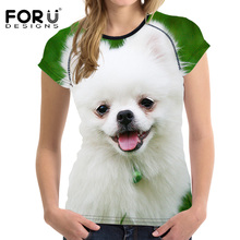 FORUDESIGNS Cute Pomeranian Cat T-shirt Women Tops Tshirt Summer Short Sleeved Breathable Women Shirts Casual Ladies Clothes Tee