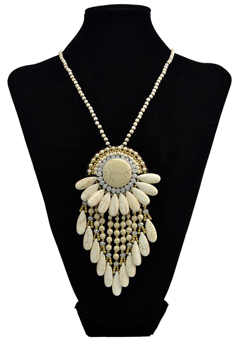 N-6046 Bohemia Beads Chain Handmade Boho Vintage Design Big Fan Shape Pendant Necklace Multilayer Turquoise Tassel Long Necklaces for Women, pendant necklace - idealway_img1.cdn.tradew.com_5