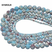 Wholesale Synthetic Stone Blue Snakeskin Round Loose Beads for Jewelry Making DIY Bracelet Necklace 4 6 8 10 12 MM Strand 15