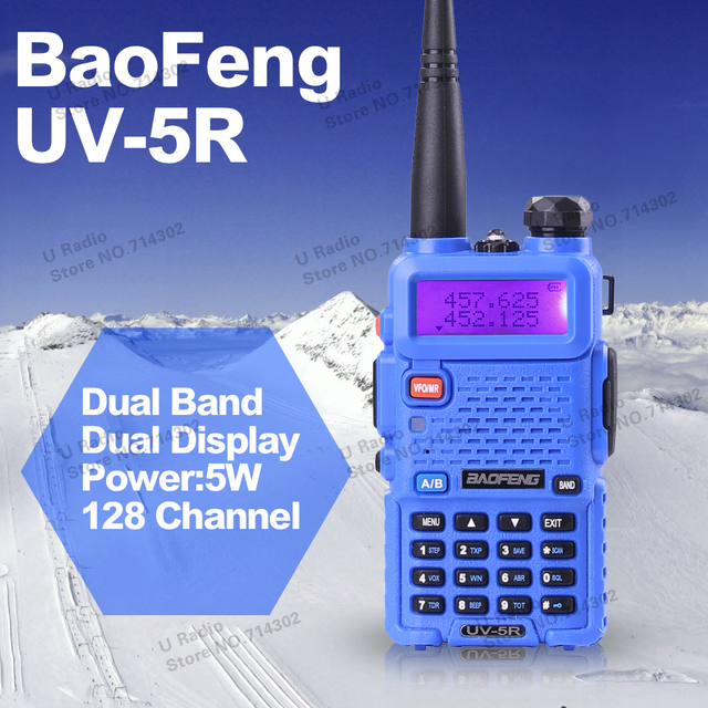 Горячий Портативный Радио Baofeng УФ 5R Синий двухстороннее радио 5 Вт укв dual band 136-174 400-520 МГЦ Walkie Talkie
