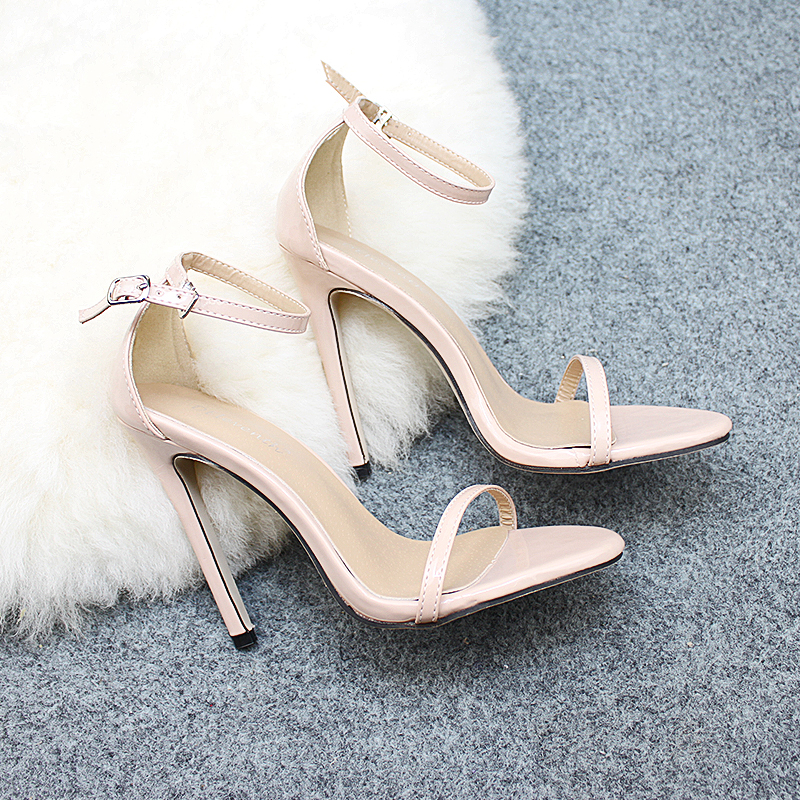 HTB1YbkUKkKWBuNjy1zjq6AOypXaT DEleventh Classics Sexy Women Red Wedding Shoes Peep Toe Stiletto High Heels Shoes Woman Sandals Black Red Nude Big Size 43 US10