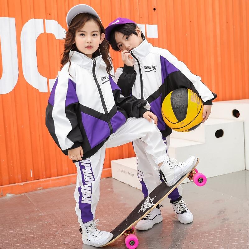 Kid Hip Hop Clothing Clothes Jazz Dance Costume Running Jacket Coat Tops Jogger Pants For Girls Boys Ballroom Dancing Streetwear