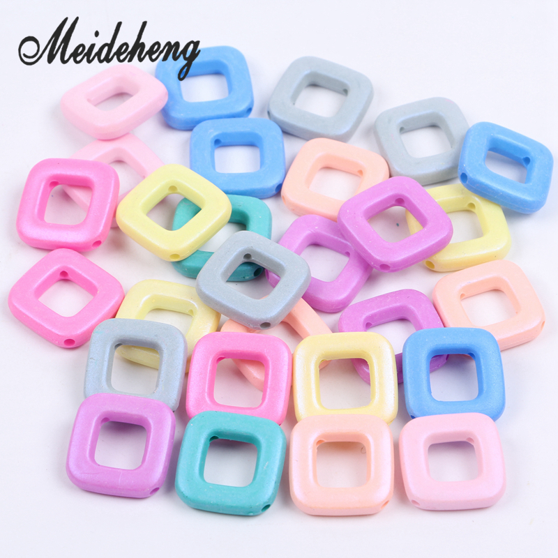 32pcs 21x24mm Square-shape Charms Acrylic beads Fit Jewelry Handmade DIY Necklace supplies for Jewelry Accessories Needlework