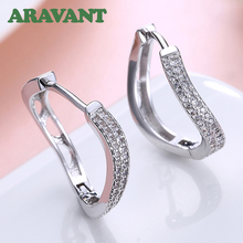 Geometric Round Earrings For Women Silver Color Cubic Zirconia Hoop Earring Vintage Jewelry