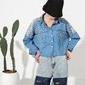 [Soonyour] 2017 весной новые свободные длинными рукавами трехмерная перл бисера короткие джинсовые рубашки куртка женщин моды прилив LS11
