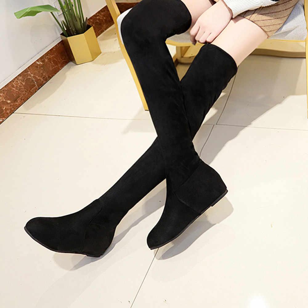 2019 ผู้หญิงฤดูหนาว SLIP-ON Toe รองเท้าบู๊ทเข่ารองเท้า Martin รองเท้า botines de mujer