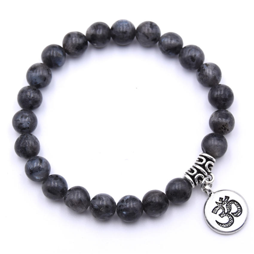Natural Stone Strand Bracelet Yoga Chakra Mala Bracelet OM Lotus Women Men Beaded Charm Bracelet Jewelry Pulseras dropshipping - Окраска металла: ZT110-12