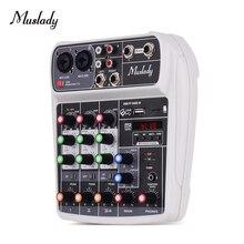 Muslady AI 4 Compact  Mixing Console  Reverb Effect Digital Audio Mixer BT MP3 USB Input +48V Phantom Power for Music Recording